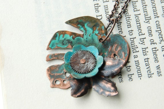 Copper Leaf Necklace Boho Hand Pierced With Green Patina And Watch Gear