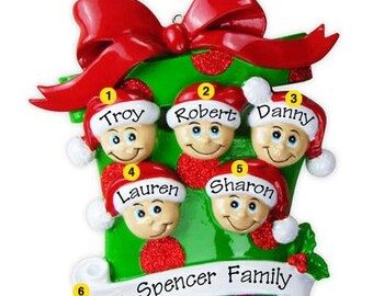 Personalized Christmas  Ornament- Family of five,Grandkids, Co-workers, Friends- Free personalization