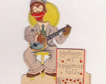 BLACK AMERICANA VALENTINE, Made  in Germany, Mid 1930's, Mechanical, Vintage Holiday Card