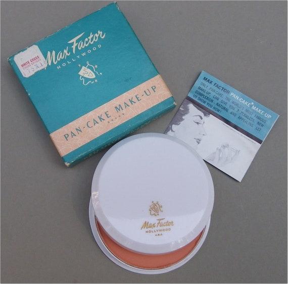 MAX FACTOR MAKEUP, Pan-Cake Brand, Original Box and Instructions, Vintage 1960s Cosmetics