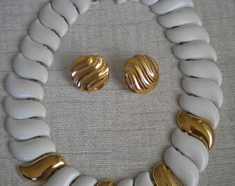White Enamel and Gold NAPIER Vintage Choker and Earrings