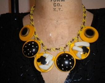 MOD Marigold and Black Vintage CELLULOID Necklace