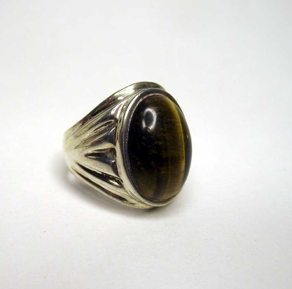 free u s shipping silver ring tiger eye by retrovintagebazaar