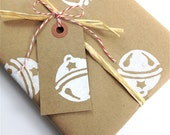 Sleigh Bells Wrapping Paper - Jingle Bells -  Hand Stamped Recycled Kraft Paper