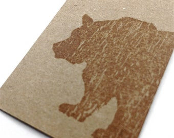 Brown Bear Gift Tags - Rustic Christmas Gifts -  Grizzly Bear - Kraft Tags