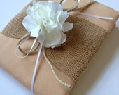 Wedding Guest Book - Rustic Burlap - White Hydrangeas - Tea Dyed Muslin and White Ribbon and Rope Bow - Handmade