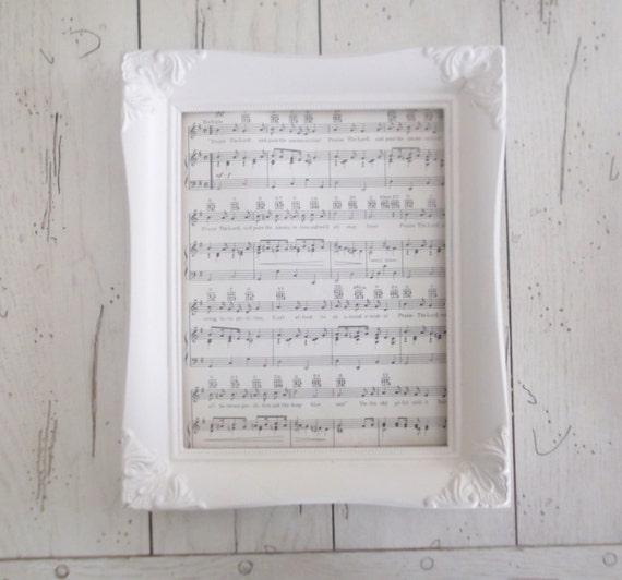 White Frame Ornate Shabby Cottage Chic Frame Repurposed Frame Home Decor Vintage Sheet Music
