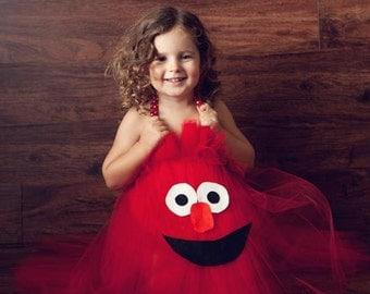 Elmo Inspired Halloween or Birthday Tutu Dress Costume for birthday or dress up playtime