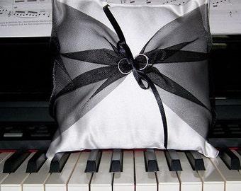 Wedding Ring Bearer Pillow, Ring Pillow with Black Organza, White Satin Wedding Pillow, Satin Ring Pillow