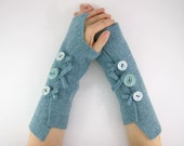 fingerless gloves arm warmers fingerless mittens arm cuffs light blue recycled wool fall eco friendly tagt team teamt