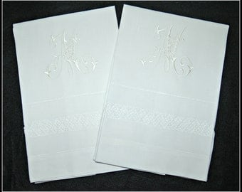 Monogrammed / embroidered / personalized pair of linen pillowcases