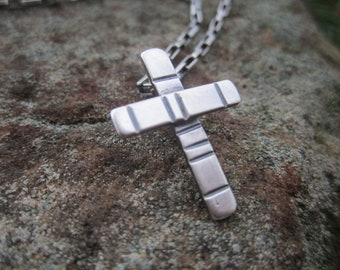 Cross Necklace -Small Masculine Sterling Silver