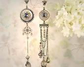 Mystique Asymmetrical Earrings - Taupe Bohemian Chandelier Earrings, Beaded Brown Gemstone Jewelry,  Earthy Artistic Boho Bridal Earrings,