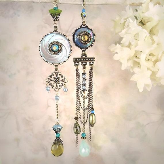 Mystique - Aqua Blue Asymmetrical Mismatch Earrings, Ocean Beach Wedding, Bride Bridal, Unique Artistic Assemblage Collage