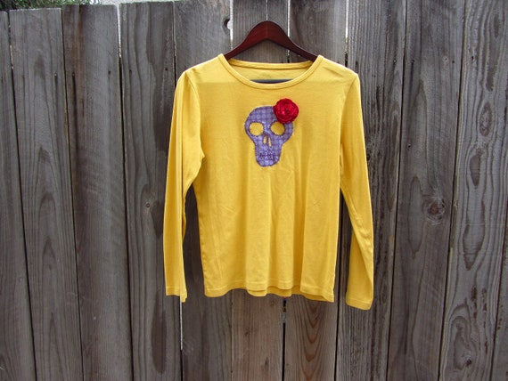 Upcycled Skull Tshirt - Skull with Changeable Flower and Bow Accessories in Mustard Yellow - Womens Upcycled Clothing - Size Medium Large