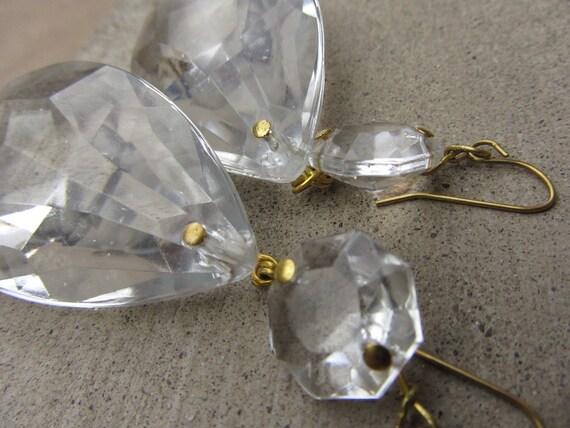 Repurposed Vintage Glass Chandelier Crystals Tear Drop Earrings - Womens Upcycled Jewelry Jewellery