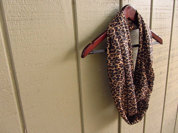 Leopard Print Jersey Knit Infinity Loop Scarf - Reclaimed Fabric - Womens Upcycled Clothing