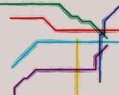 Buenos Aires Metro Map Gallery Wrap Canvas - 16x12