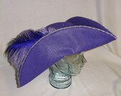 Lilac Pirate Hat- Classic Tricorn with Lavender and Purple Trim and Feathers