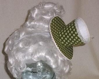 Teacup Fascinator- Olive Green and White Teacup Headband- Mini Hat