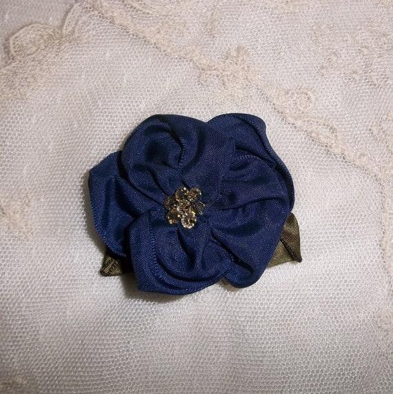 Navy Blue Ribbon Rose Brooch