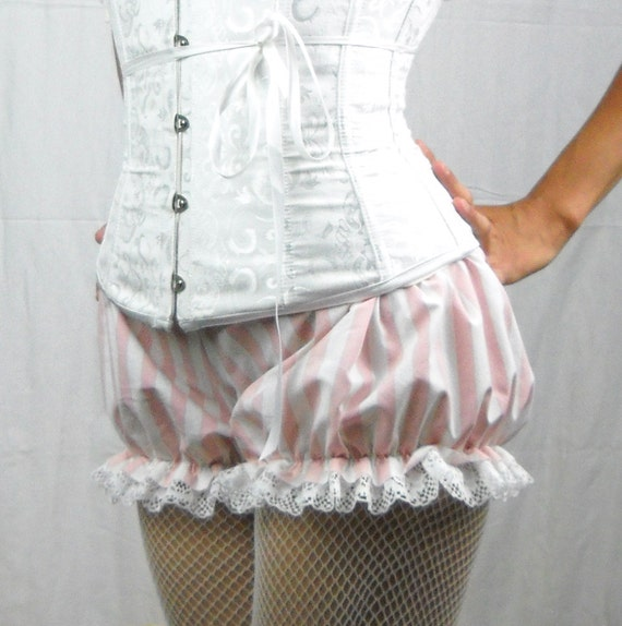 Custom Striped Mini Micro Bloomers ...with 1/2 inch stripes your choice of fabric and trim.
