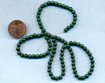 "16"" Strand of 4mm Malachite Beads"
