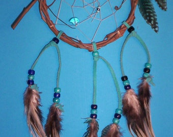 Native American inspired Dream Catcher 5-223, Guinea/Chicken Feathers, Glass Beads,  Bear