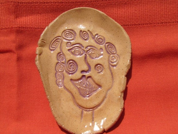 Smiley Lady -  Pottery Soap Dishes, Trinket Tray, Spoon Rests