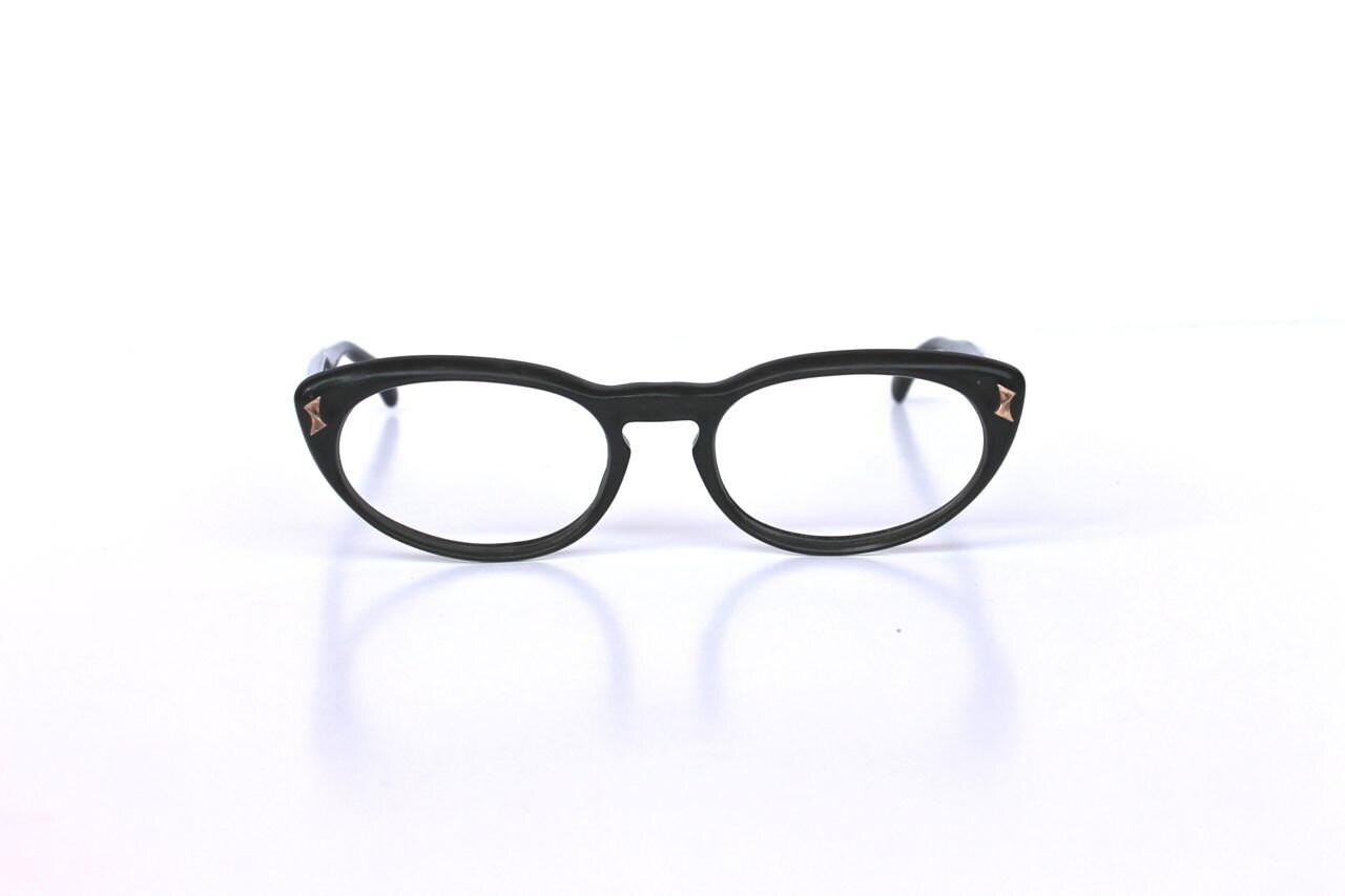 simple black cat eye glasses frames vintage by