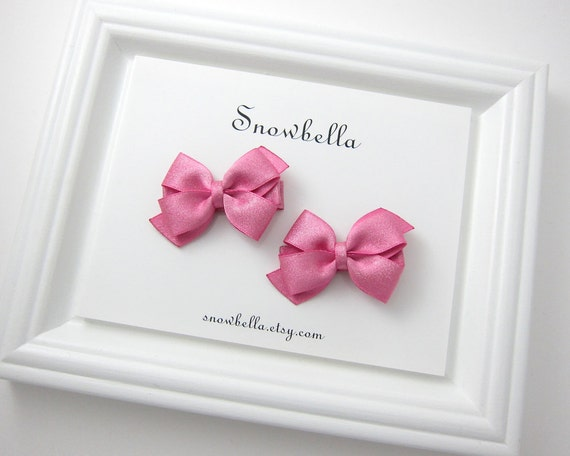 Hot Pink Bows Sparkly Satin Small Bow Hair Clips