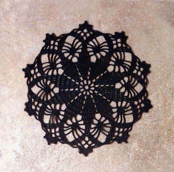 Black Lace Crochet Doily, New Victorian Style Home Decor, Table Accent