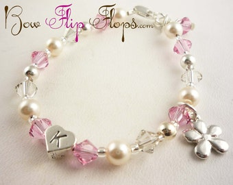Choose your colors personalized flower girl bracelet jewelry - pink and white
