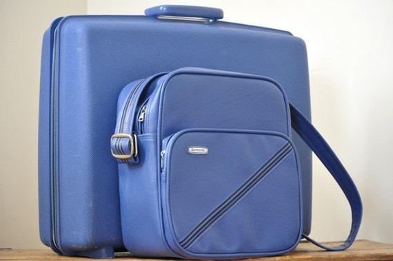 Vintage Blue Samsonite Concord Suitcase Set