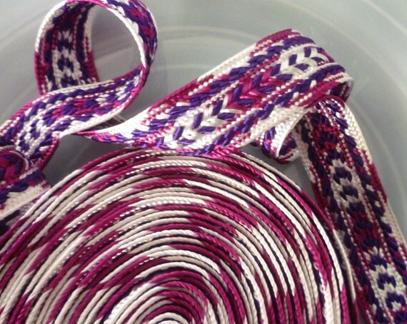 Moroccan trim, berry colours art silk, tribal