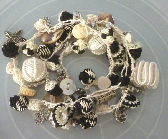 Moroccan art silk bead, mother of pearl necklace/bracelet, cream and black