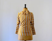 Vintage 1970s Gianni Versace mustard brown striped sweater with scarf