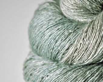 Dried mint leaves OOAK - Tussah Silk Lace Yarn