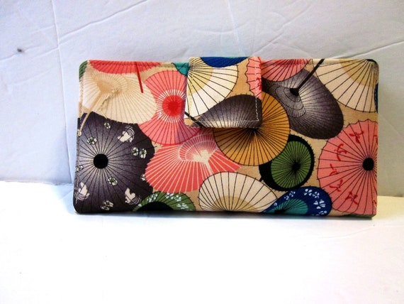 Wallet for women - oriental umbrellas - Custom order - clutch - handmade