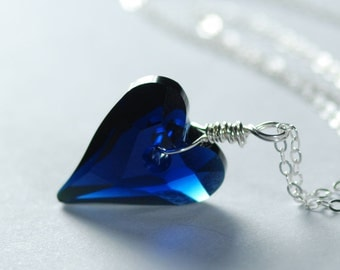 Crystal Heart Necklace Sterling Silver Wire Wrapped Swarovski Sapphire Blue Crystal Heart Pendant September Birthday Anniversary Jewelry