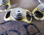 Recycled Riveted Bracelet, Autumn Gold with layered Silver Washers