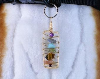 Gemstone Chakra pendant - dog collar charm, handmade jewelry for all pets and people, Designer pet accessory, alignment & balance