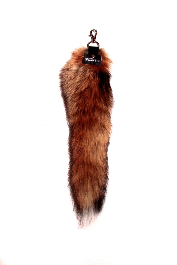 PREMIUM Recycled Red Fox Fur Tail for Keychain or Belt Loops