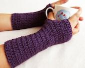 Sale Crochet Wrist Warmer - Fingerless Gloves - Mittens Arm Warmers - Purple