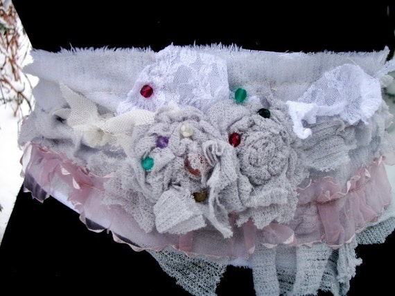 sash, belt, jane austen, steampunk, victorian, distressed, ragged, layers and frills, the corpse bride, roses, pale,grey,accessoires,women