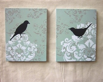 Damask Bird Painting, wall decor, French Country Cottage Chic, French Blue and grey, 11 x 14 inches, set of two