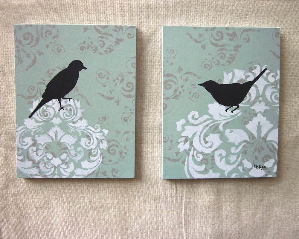 Damask Bird Painting Wall Decor French Country By Loriamckee