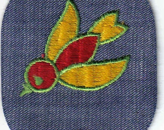 1970's Vintage Sewing Patch Applique - Retro Colorful Flying Bird