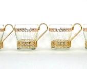 Vintage Barware. Tea Cups. 1960s Greek Key Tea Glasses, Set 4. Demitasse. Grecian Gold Golden MidCentury Housewares. Curationnation.