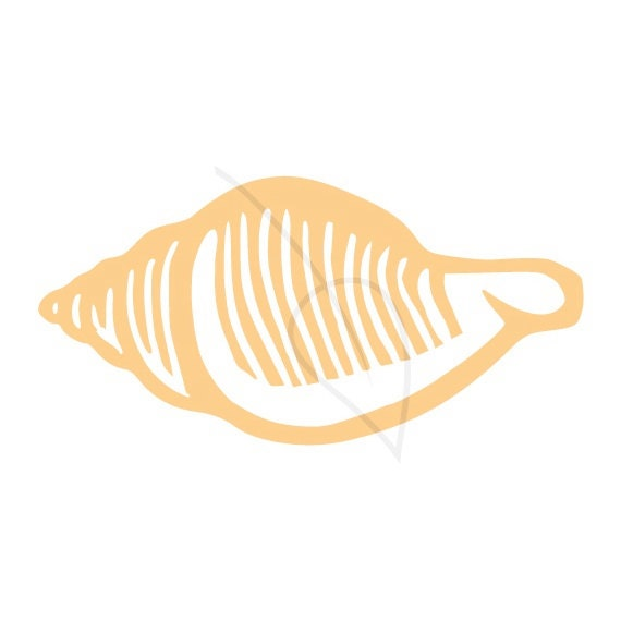 Shell digital stamp clip art in tan sand or black